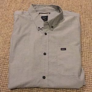 Men's RVCA grey short sleeve button down XL